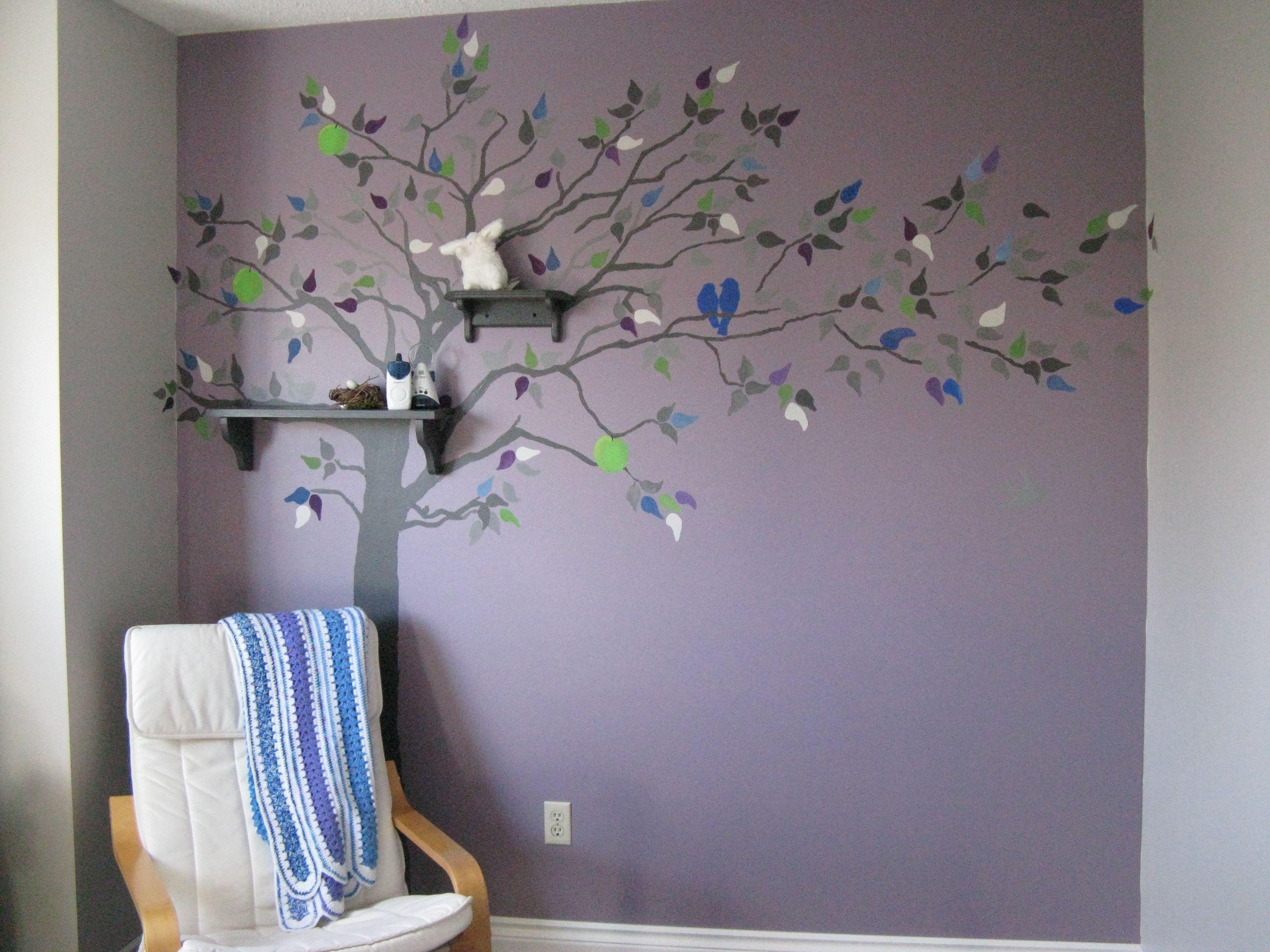 Purple Blue Tree Stencil Nursery Wall Baby Paint