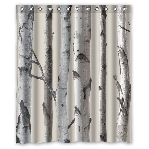 Boskgml Custom Birch Trees Waterproof Polyester Fabric Shower