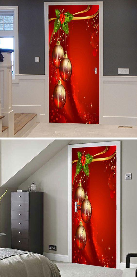 50 off christmas door stickers free shipping worldwide for Decoracion puertas navidad