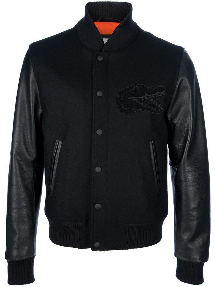0e05e806a Lacoste Live Black Contrast Leather Sleeve Bomber Jacket size 48 XS ...