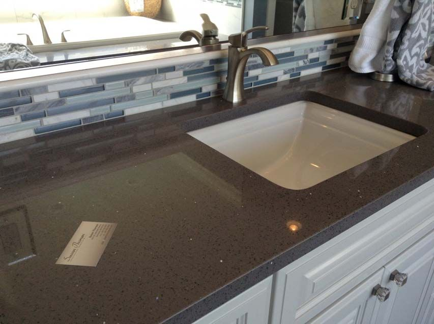Brown Quartz With Mirror Pieces With A Rich Chocolate Brown Color And The Dazzling Sparkle Bathroom Countertops Quartz Bathroom Countertops Quartz Countertops