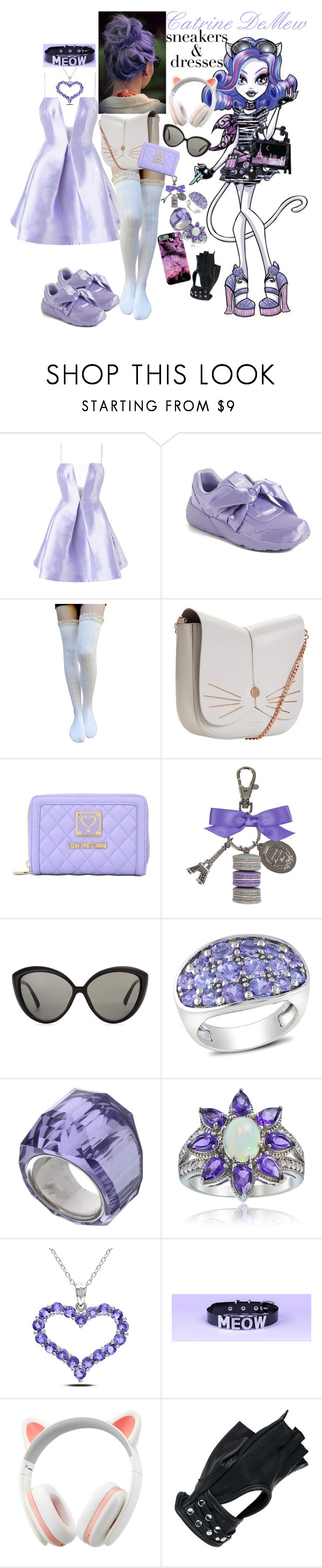 """Catrine DeMew's Dress and Sneakers Look"" by musicallymasked ❤ liked on Polyvore featuring Alex Perry, Puma, Ted Baker, Love Moschino, Ladurée, Linda Farrow, Catherine Catherine Malandrino, Swarovski, Glitzy Rocks and Miadora"