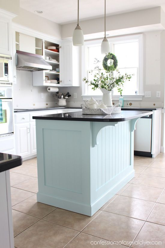 Kitchen Island Makeover with Beadboard