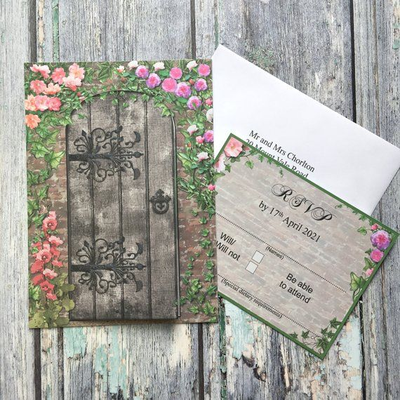 SAMPLE Secret Garden Wedding Invitation with Free RSVP, Romantic Wedding Invitation, Rose Wedding invitation, Gate Wedding Invitation SAMPLE is part of Secret garden Invitations - numbers, seating plans, table & individual menu's, thank you cards  For more information please contact us via the ETSY message