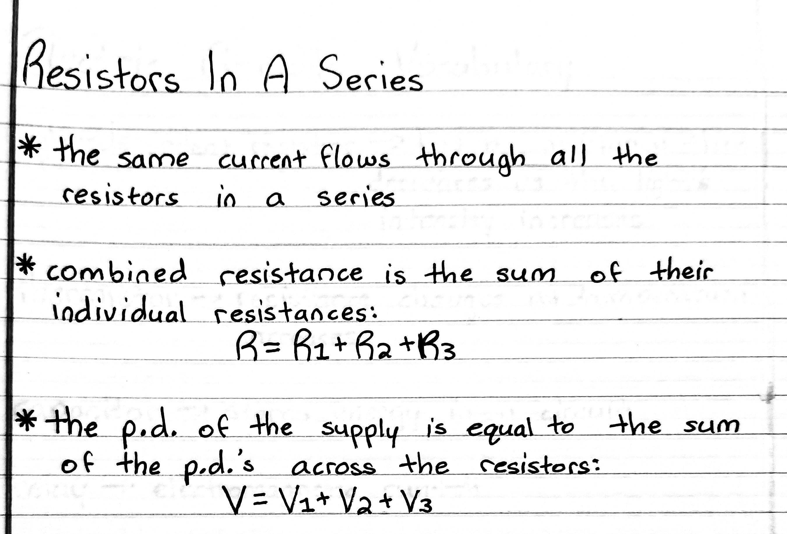 Resistors In A Series Math And Physics Notes
