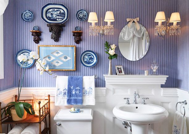 blue and white collection. a pretty setting for brushing one's teeth.