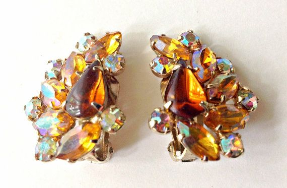 Juliana Rhinestone Earrings, Rootbeer Amber Topaz with Rainbow ABs Vintage