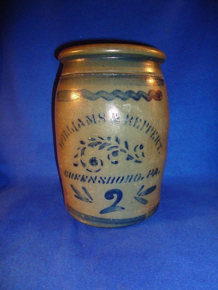 Williams & Reppert, Greensboro Pennsylvania 2g Decorated Stoneware Jar
