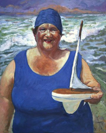 Lady in Blue Swim Suite and Cap with Boat
