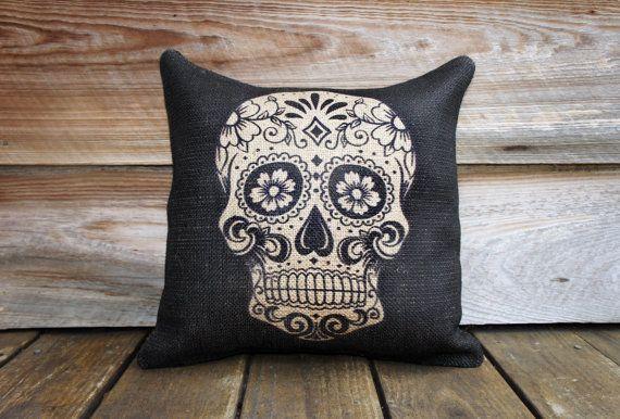 Sugar Skull Burlap Pillow