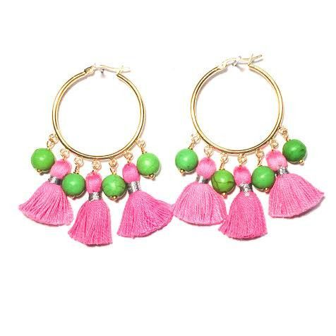Cabana Tassel Hoop Earrings Pink Green Jewelry Yes Please