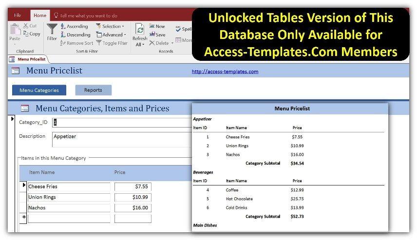 Restaurant Menu Price List In Access Templates Database Microsoft - example of dental hygientist resume