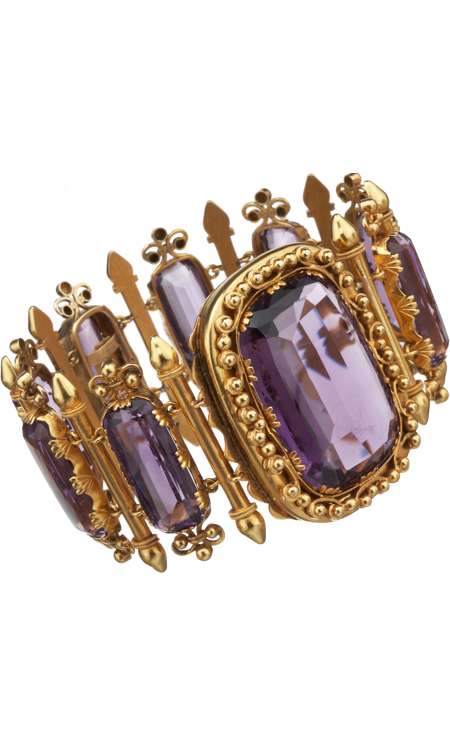 Ornate 18k yellow gold bracelet with faceted, rectangular amethyst links and larger amethyst centerpiece set within swirled, beaded frame, 1860.