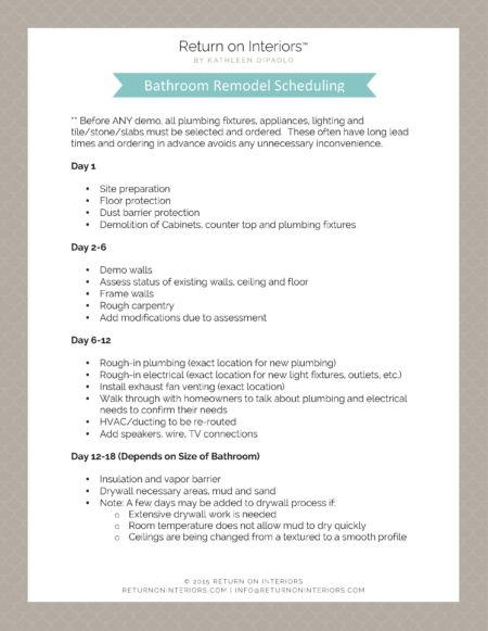 Bathroom Remodel Schedule, Bathroom Remodel Schedule