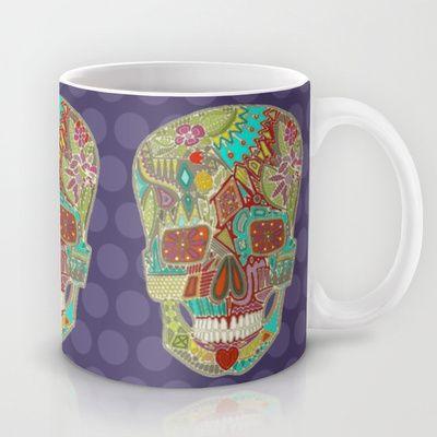 flower skull spot Mug #society6 #sharonturner #skull #nature #flower #purple #turquoise #illustration #home #kitchen #mug