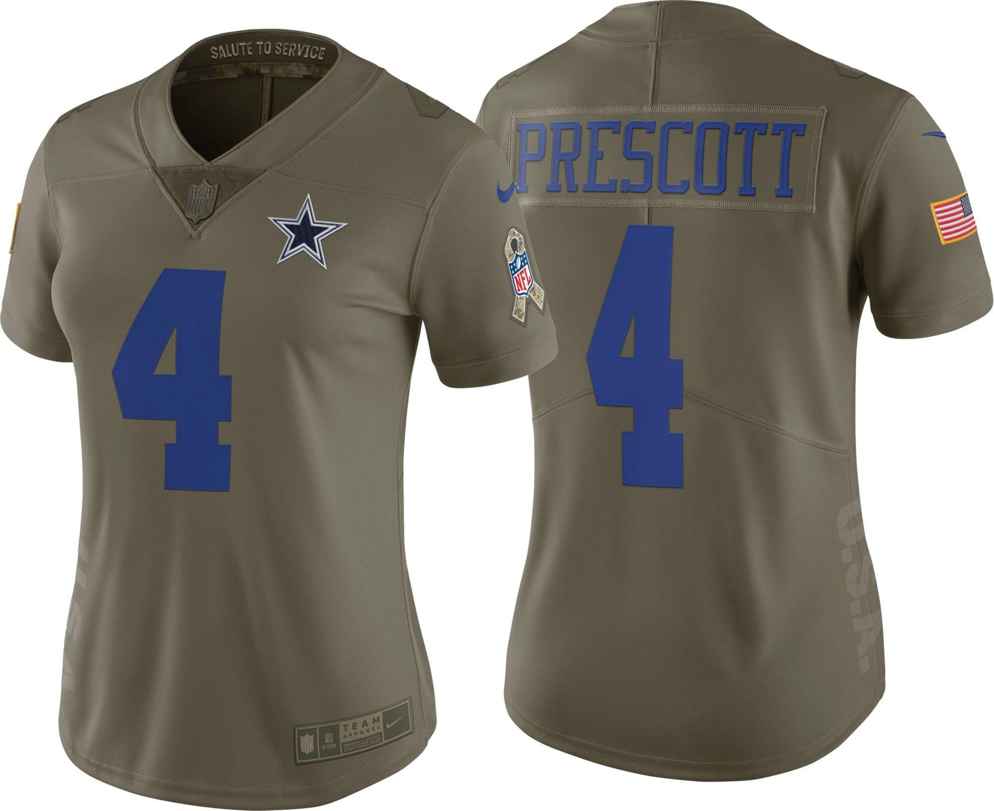 Nike Women's Limited Salute to Service 2017 Dallas Cowboys Dak Prescott #4 Jersey