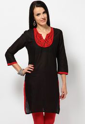 ee2436bb320 Lace Yoke Black Kurta