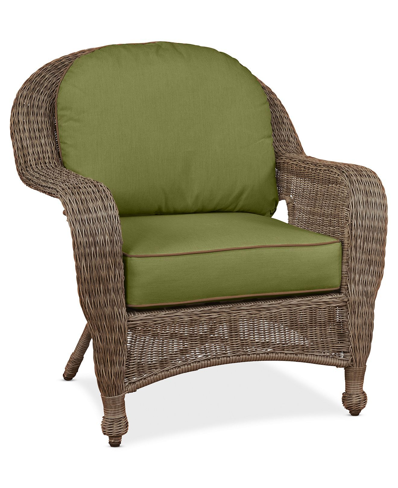 sandy cove wicker outdoor club chair: custom sunbrella®, created for