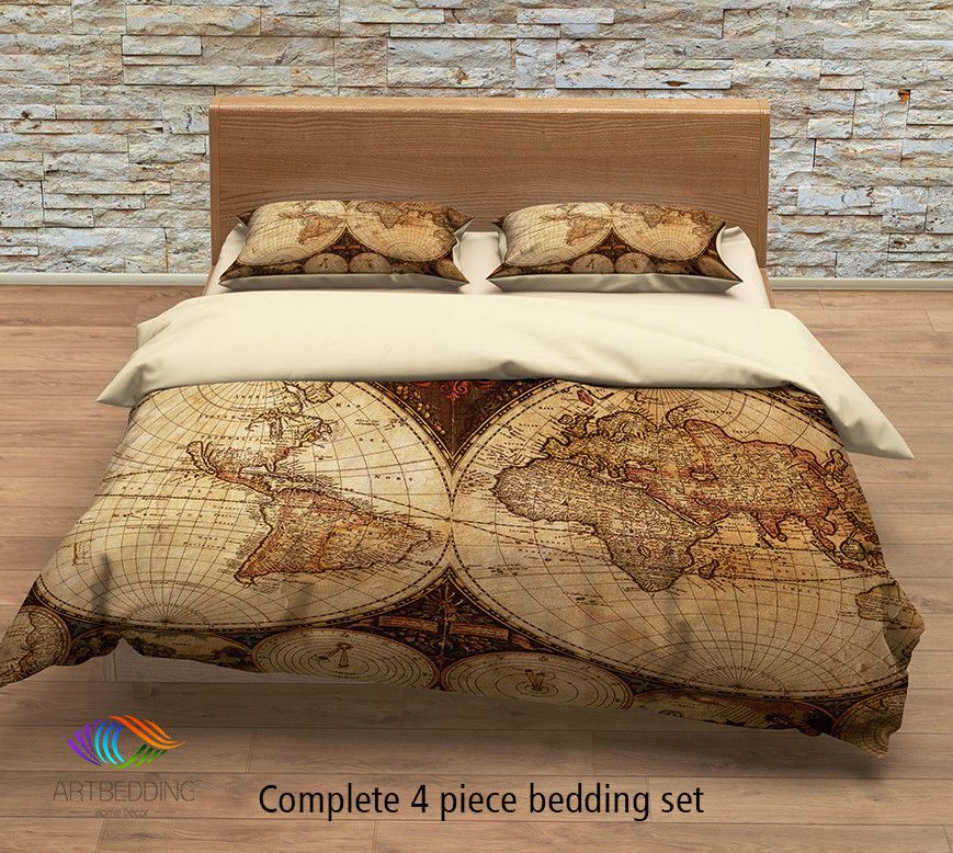 Antique world map bedding vintage 1630 old map duvet cover set vintage map bedding vintage old map duvet cover antique map queen king gumiabroncs Gallery