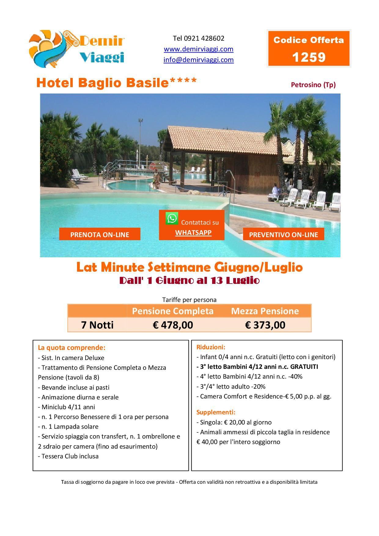 Hotel Baglio Basile**** - Petrosino (Tp) Last Minute Settimane ...