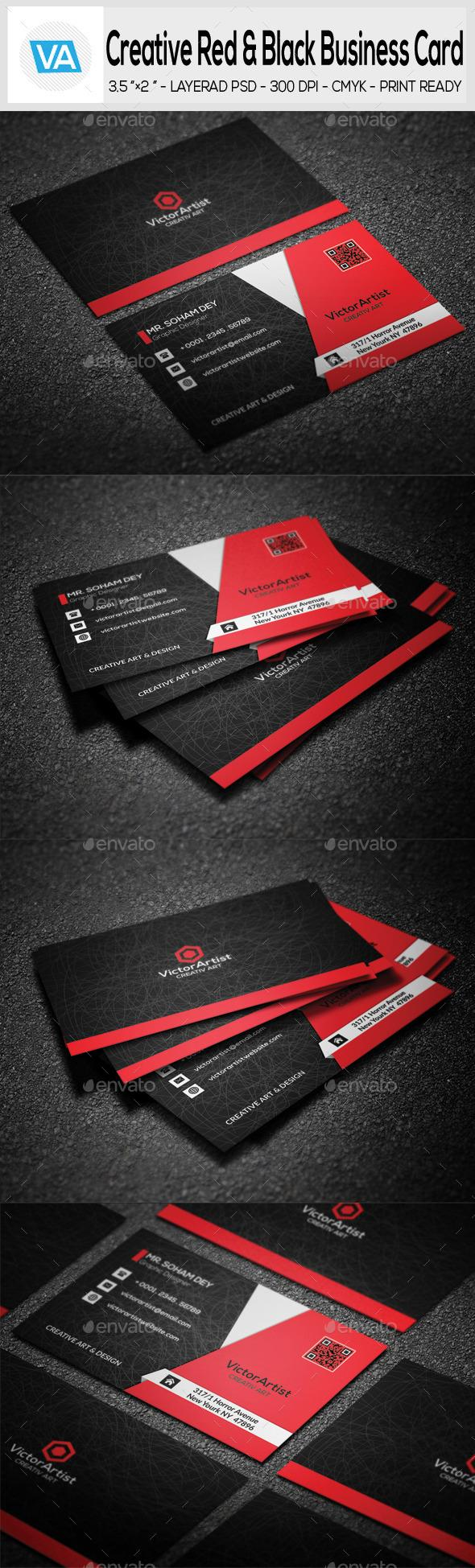 Creative Red Black Business Card Black Business Card Business - 35 x2 business card template
