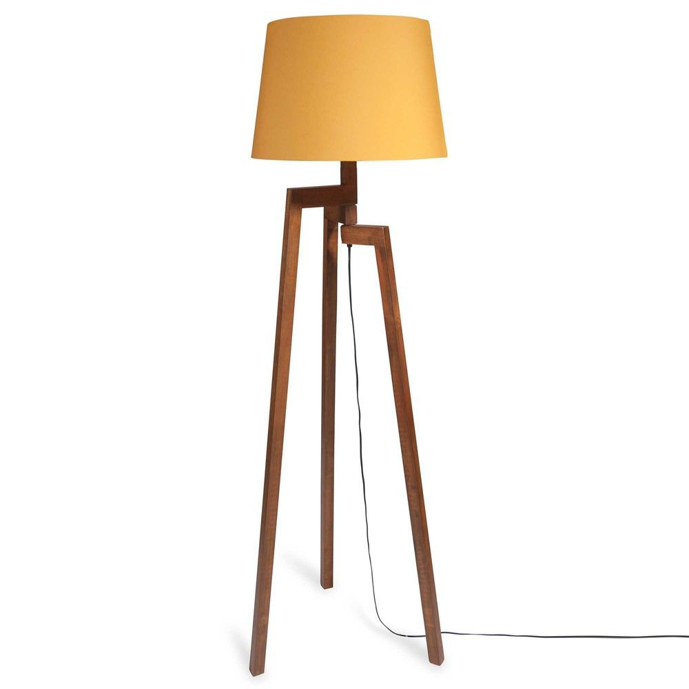 Lampadaires Wooden Tripod Floor Lamp Fabric Lampshade Floor Lamp