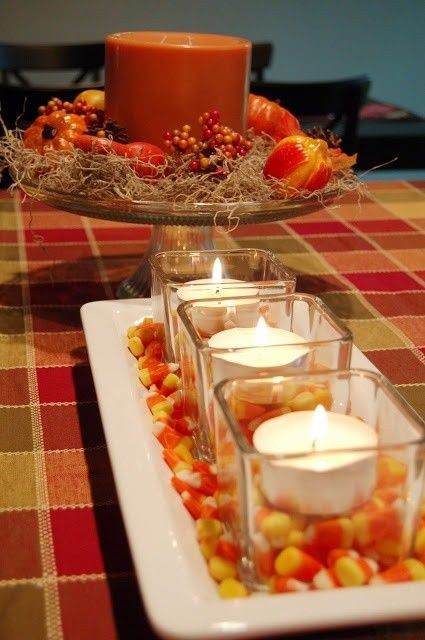 2014 Halloween candy corn decoration for table settings - candle glass #2014 #Halloween & 2014 Halloween candy corn decoration for table settings - candle ...