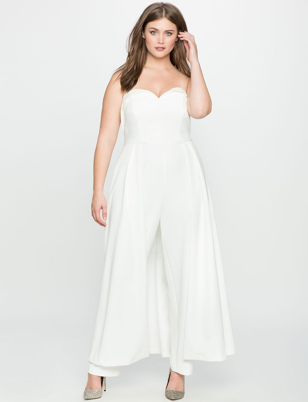 4240642c41b Sweetheart Neckline Jumpsuit with Skirt