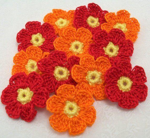 Apliques De Flores De Color Rojo Y Naranja De Ganchillo Etsy Aplique De Flores Flores De Colores Flores A Crochet