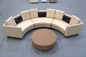 4pc Modern Top Grain Leather Round Sectional Sofa Set S406va Leather Sofa Set Sofa Set Leather Sofa Living Room