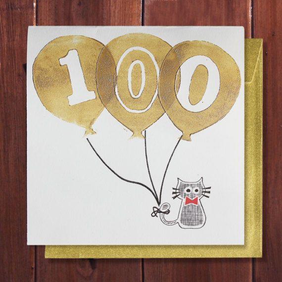 100th Birthday Card Birthday Card 100 Years Age Special Etsy 100th Birthday Card Birthday Labels Birthday Cards