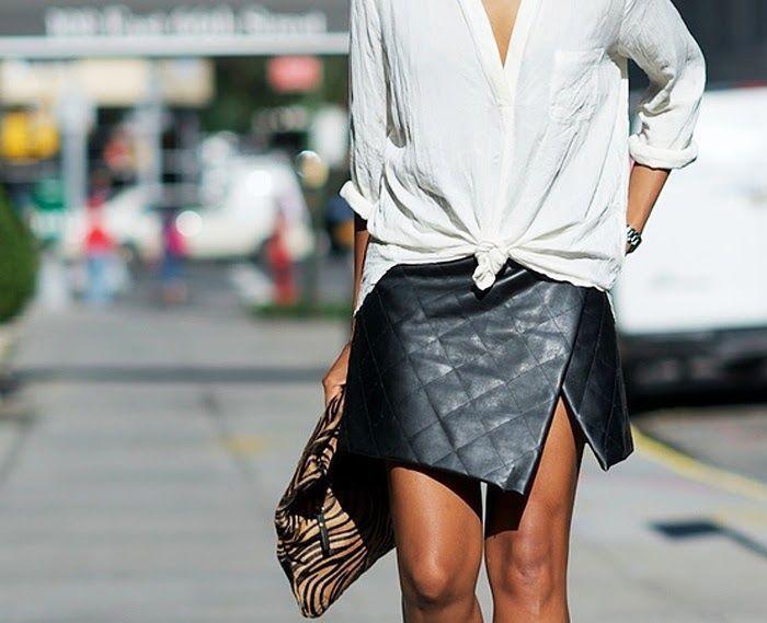 Asymmetrical Leather Wrap Mini Skirt Unknown Model/Photographer