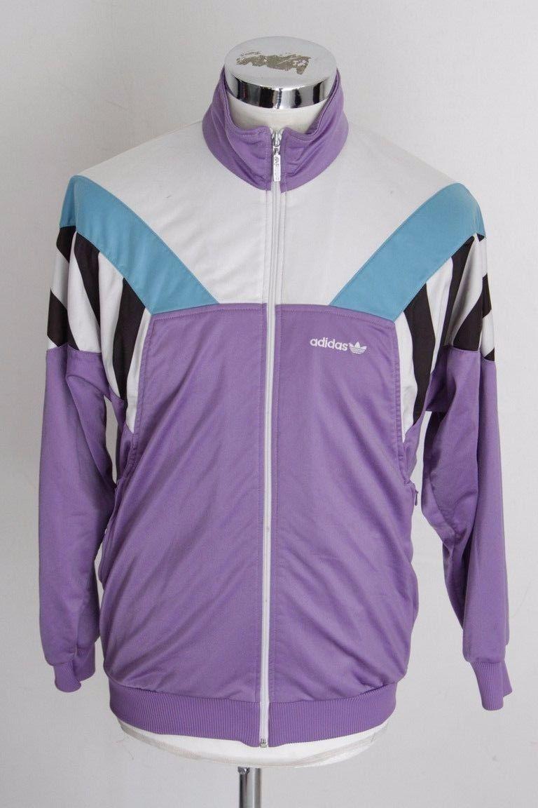 adidas m vintage giacca zip giacca track top gabber felpa tuta a1325