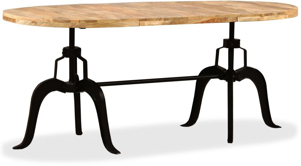 H4home Rustic Industrial Large Dining Table Mango Wood And Metal