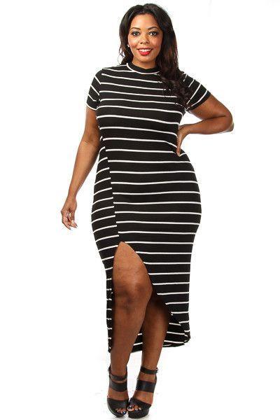 Robes Taille Noir Blanc Stripe Haut Maxi Robe Slit Pas Cher www.modebuy.com @Modebuy #Modebuy #Noir #Blanc #dress