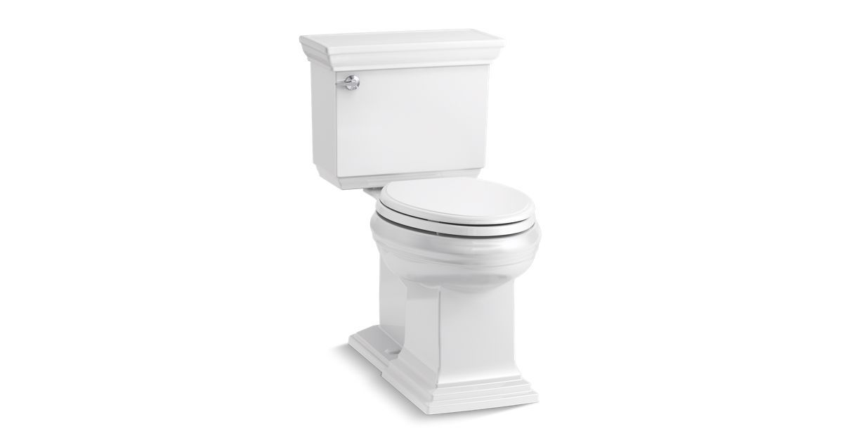 The K 6669 Two Piece Toilet Features A Water Saving 1 28 Gallon Flush Powered By Aquapiston Technology A Concealed Trapway Simplifies Cl Toilet Kohler Comfort