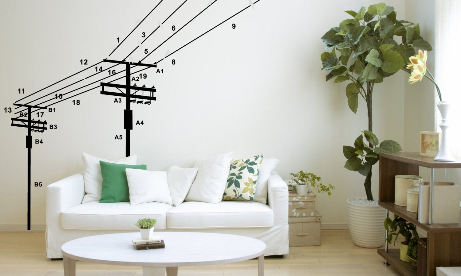 Wall Decals - YYone Large Black Electric Pole Number 1-19 Wall Mural Decal Removable Wall ...