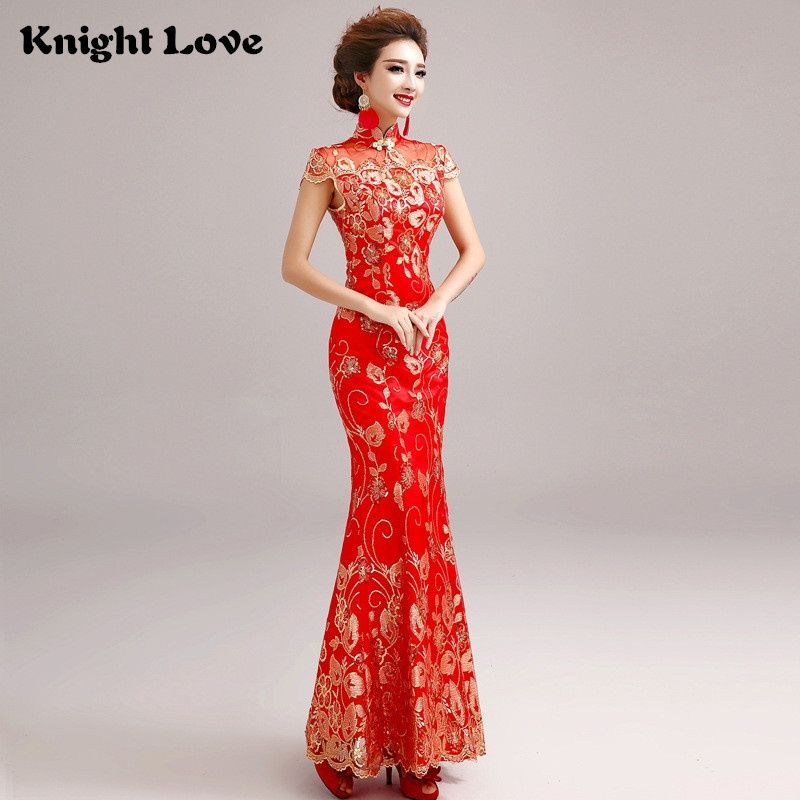 Red Lace Chinese Wedding Dress Female Short Sleeve Cheongsam Long Gold Slim  Chinese Traditional Dress Women Qipao Wedding Party 0187063d2b1b