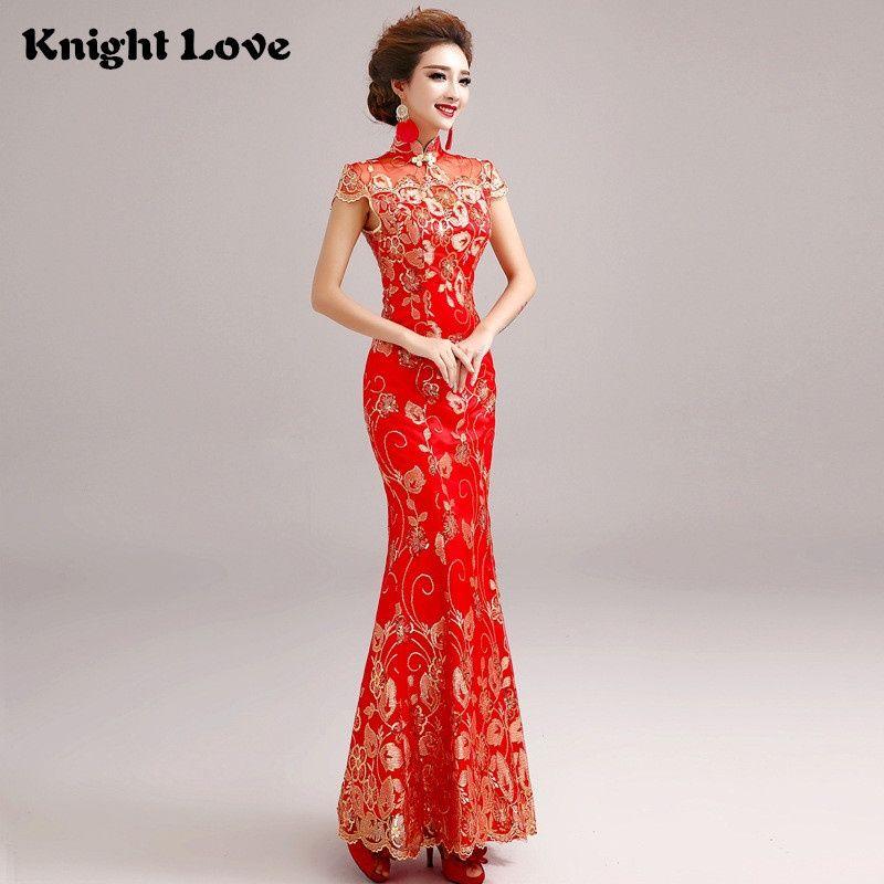 0c963f81e39 Red Lace Chinese Wedding Dress Female Short Sleeve Cheongsam Long Gold Slim Chinese  Traditional Dress Women Qipao Wedding Party