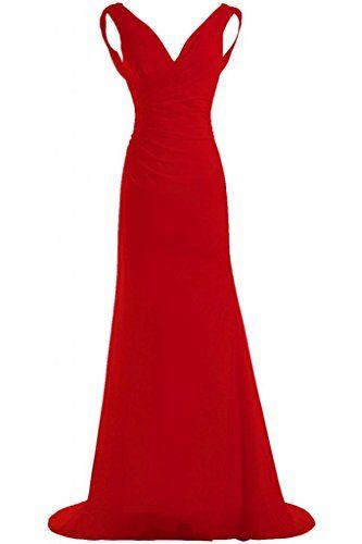 Gorgeous Bride Schlicht V-Ausschnitte Etui Chiffin Lang Schleppe Abendkleid  Ballkleid Festkleid: Amazon.de: Bekleidung