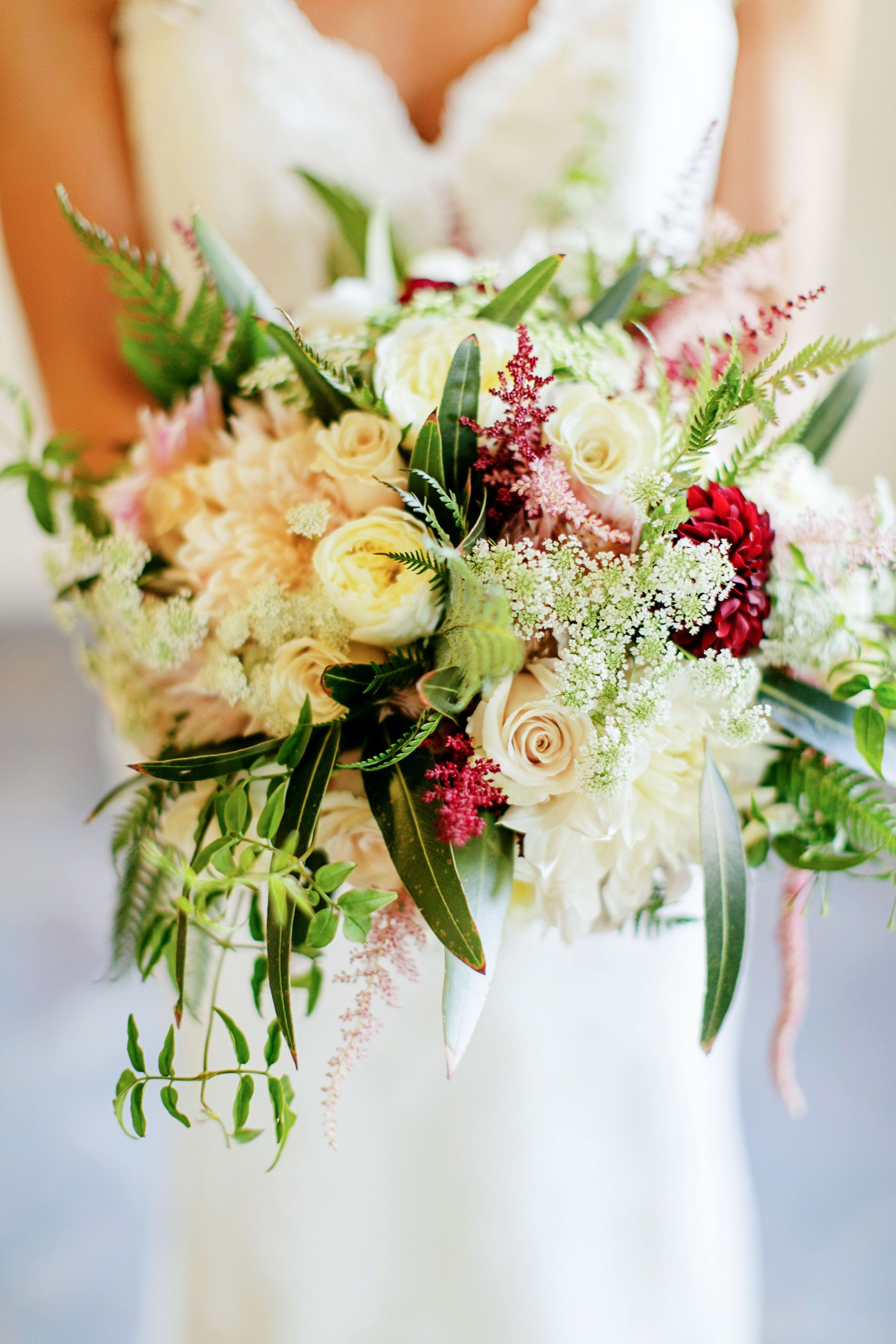 Pretty neutral florals with amazing textures View the full wedding