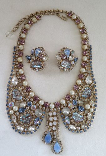 b400bb9ca RARE Hobe Saphiret Rhinestone and Faux Pearl Bib Necklace Set | eBay. Find  this Pin and more on Vintage Costume Jewelry ...