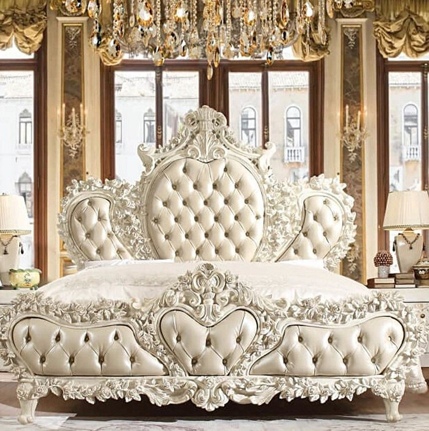 White Wood King Bed By Homey Design 3 150 00 King Bedroom Sets Luxury Bedroom Sets California King Bedroom Sets