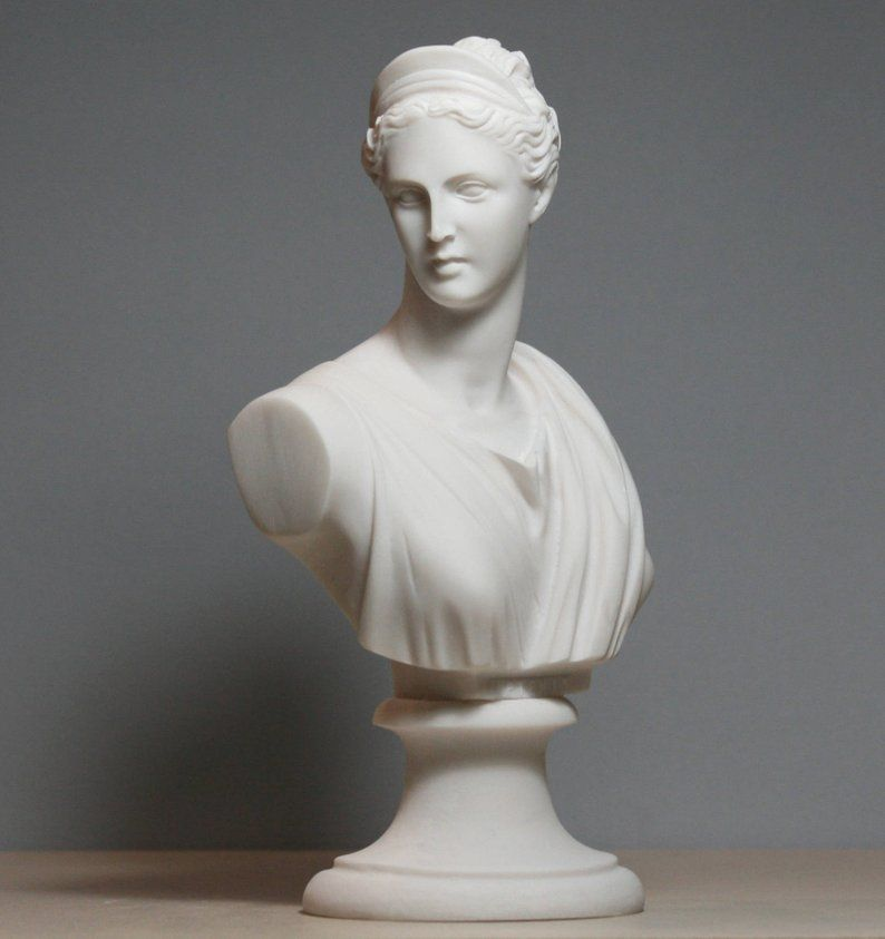 Greek Roman Goddess Artemis Diana Bust Head Cast Marble Statue Sculpture 8 46in 21 5cm Free Shipping Free Tracking Number Statue Roman Goddess Sculpture