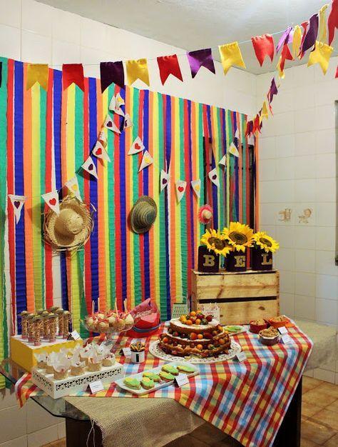 Festa Junina DIY ~ Mam u00e3e Sortuda Decoraç u00e3o de festas Decoraç u00e3o festa, Decoraç u00e3o de festa  # Decoração De São João Com Papel Crepom