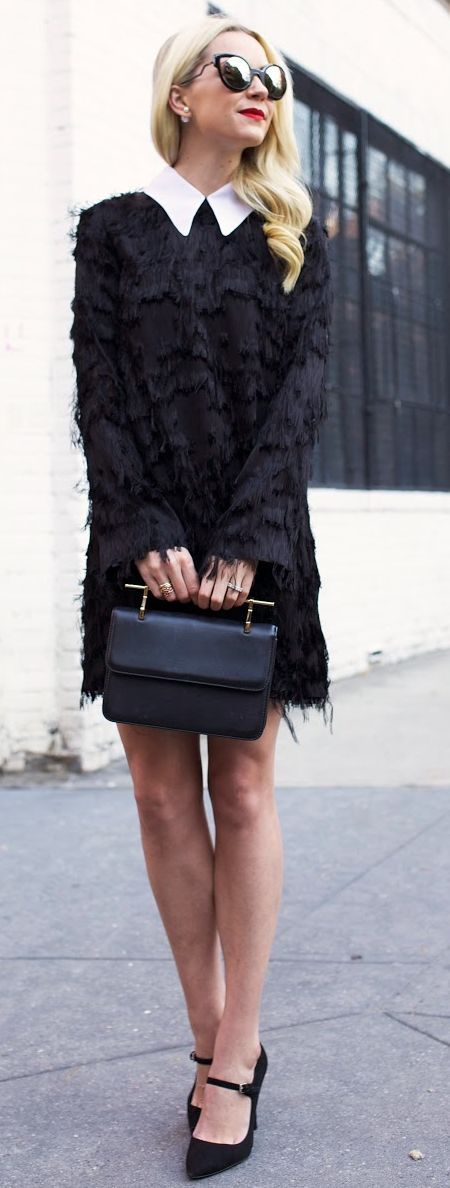 Black Shaggy Shift Dress Fall Inspo by Atlantic - Pacific