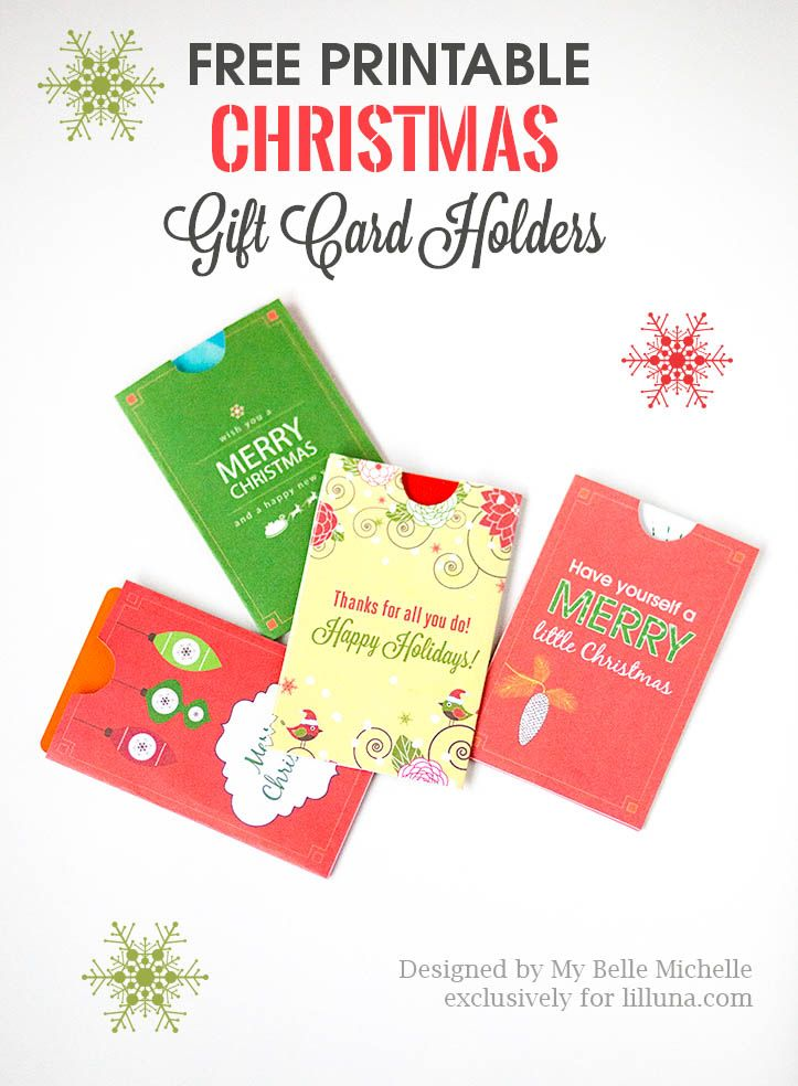 Free Holiday Gift Card Holder Printables - download, print and use - printable christmas gift certificate