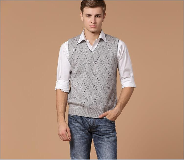 Autumn hot sale v neck mens casual plaid pattern sleeveless wool ...