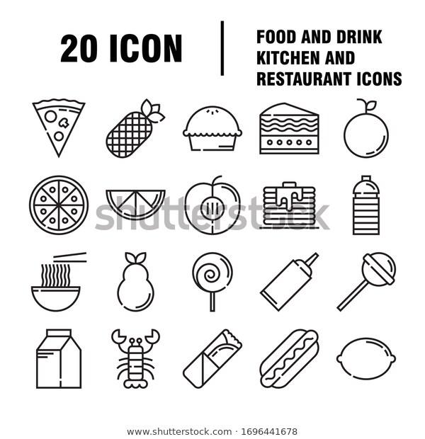 Food Drinks Icon Restaurant Line Icons Stock Vector Royalty Free 1696441678 Drink Icon Restaurant Icon Drinks Logo
