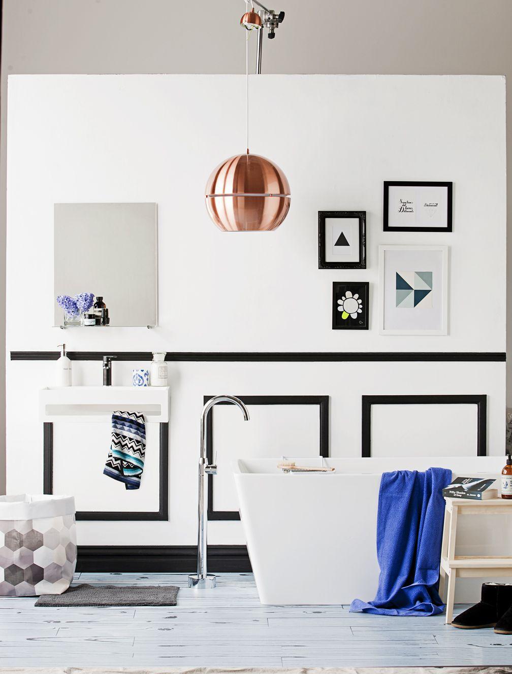 Modern bathroom blue color schemes - Cobalt Copper Black White Bathroom
